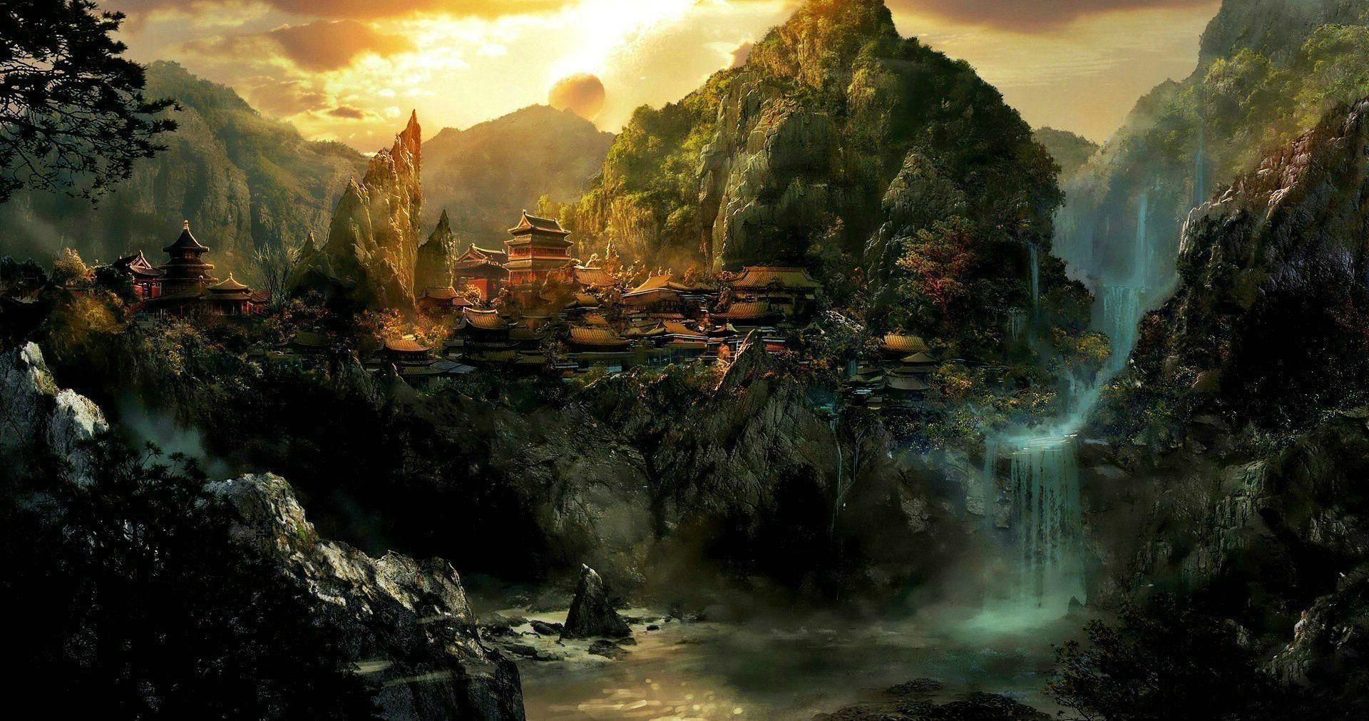 Fantaisie Paysage Oriental Asiatique Ville Château Fond d\'écran ...