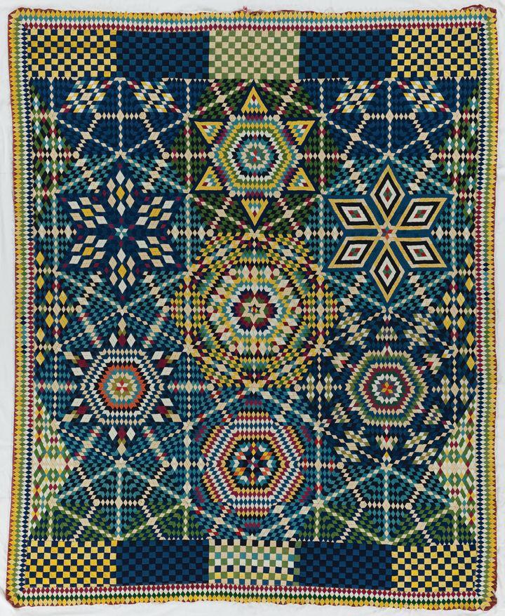 International Quilt Study Center, Mosaic Stars, hand pieced, wool felt. Date unknown