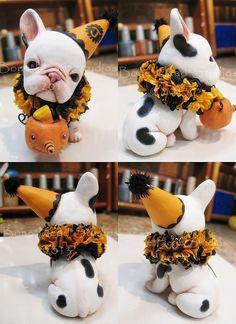 Halloween , White Twinkles  , art doll  , folk art , French Bulldog