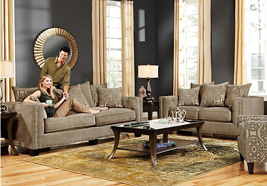 Picture Of Cindy Crawford Sidney Road Taupe 5pc Classic Living Room From Living Room Sets