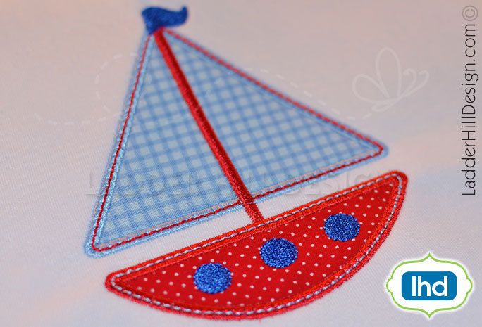 Sailboat applique ~ summer applique sailboat embroidery design wa026