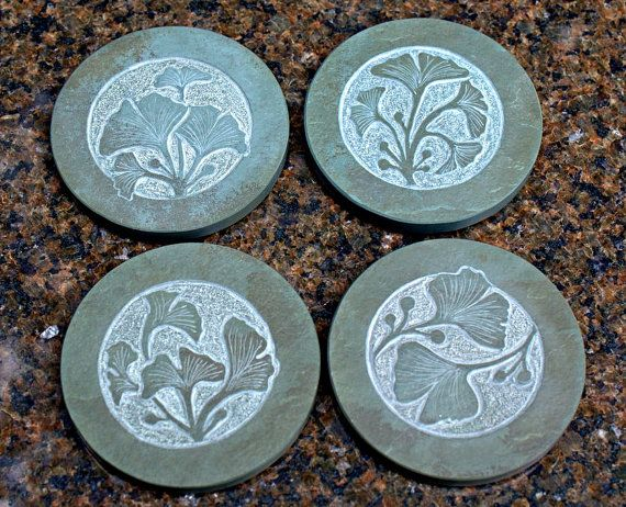 Jade green Slate natural stone hand carved round by SAGaStone