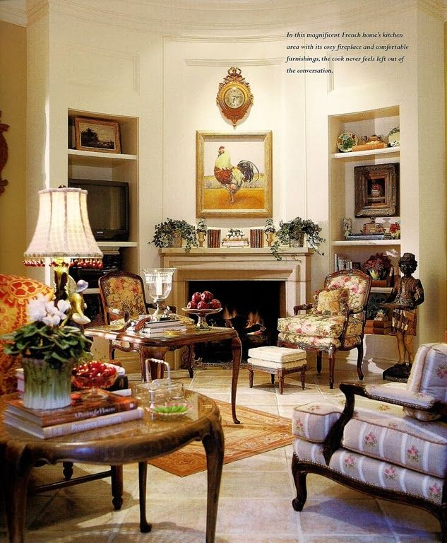 attractive living room of traditional french country home   Charles Faudree   French country living room, French ...
