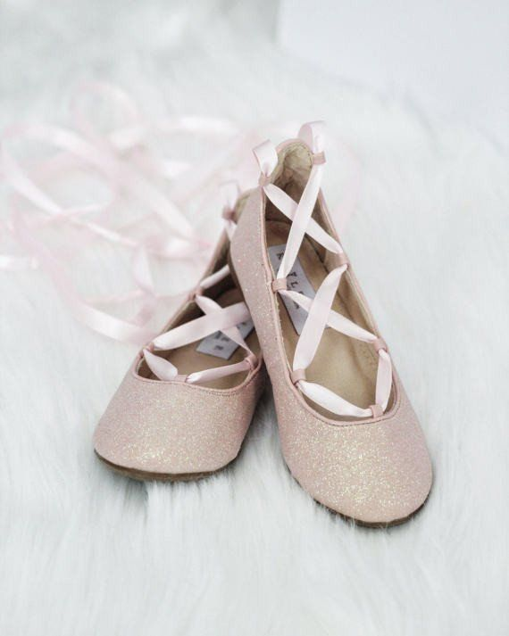 Girls Shoes Pink Fine Glitter Ballerina Flats With Satin Ribbon