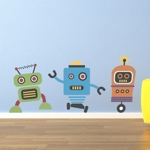 cute robots decal - group vinyl wall art - children wall decals in