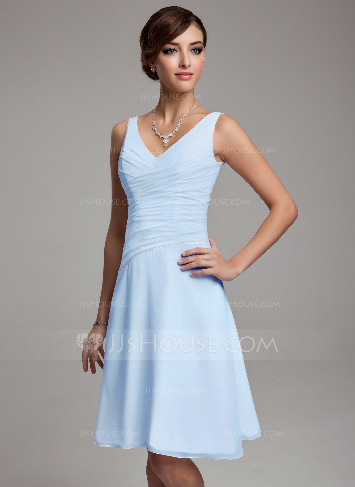 Alineprincess vneck kneelength chiffon bridesmaid dress with