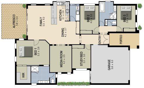 4 Bed 2 Bath Media In 2020 Australian House Plans Bedroom House Plans 4 Bedroom House Plans