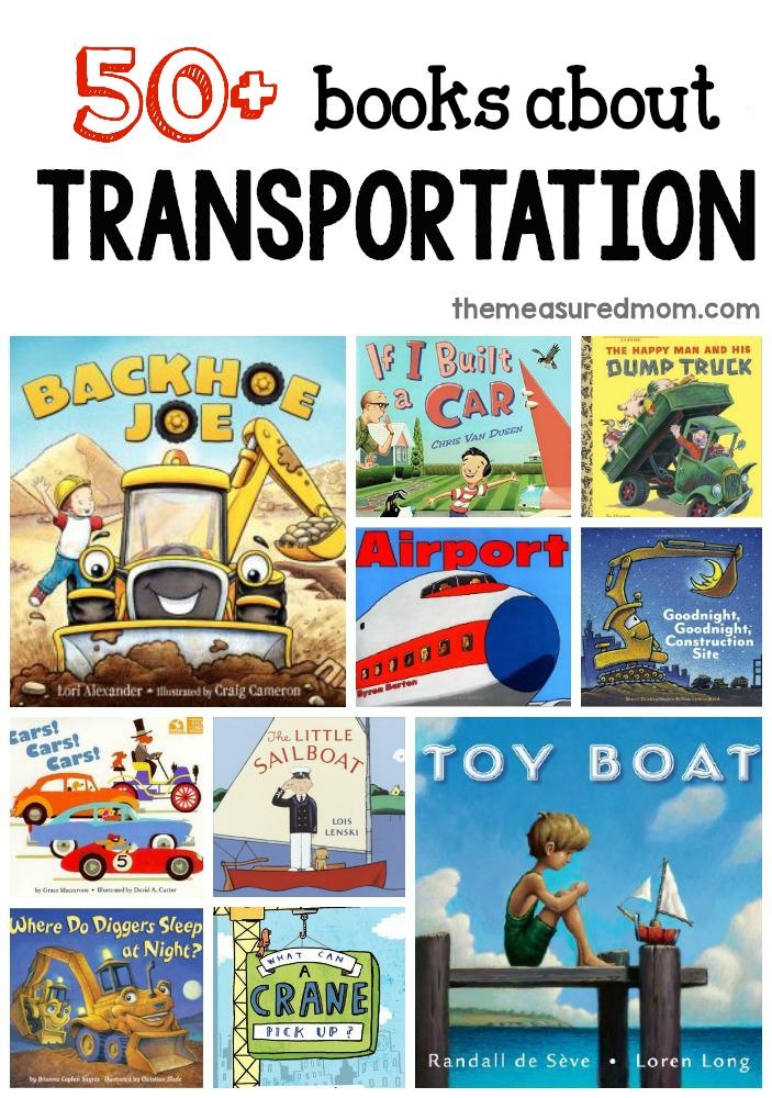 a giant list of books for a preschool transportation theme