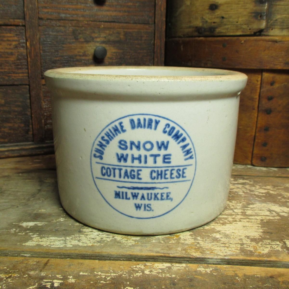 Super Old SNOW WHITE Cottage Cheese Advertising Crock - Sunshine ...