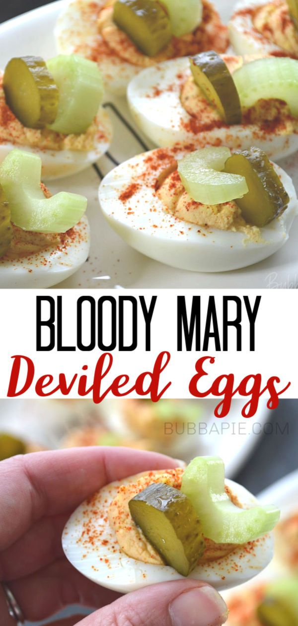 Bloody Mary Deviled Eggs - BubbaPie
