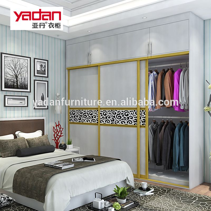 Bedroom Furniture Wardrobe With Mirror And 3 Sliding Door With