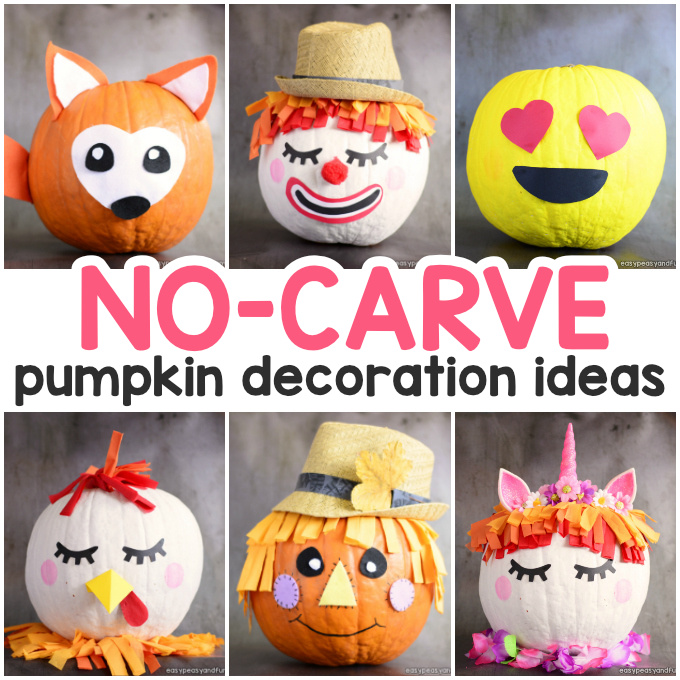 Amazing Pumpkin Painting Ideas & Other No Carve Pumpkin Decorating Ideas #pumpkinpaintingideasforkids If you plan to make a no carve Halloween pumpkin this year , you'll love these unique pumpkin painting ideas – from the roaring dinosaur pumpkin to simple emoji pumpkins. Many cute ideas as well as scary ones! Browse through these pumpkin decorating ideas and we are sure you won't be able to pick just … #pumpkinpaintingideas