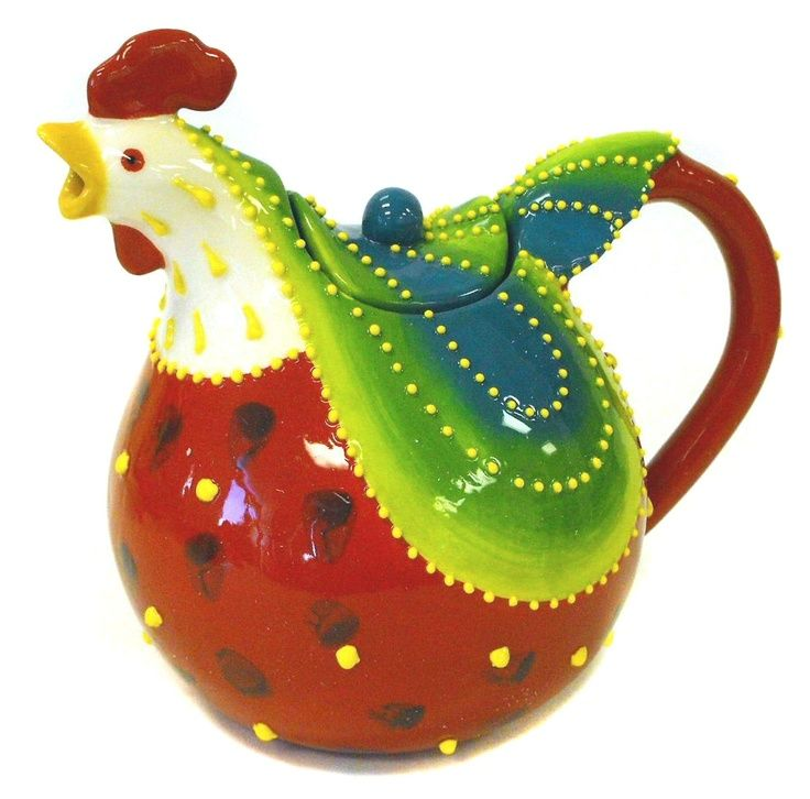 Rooster teapot,,,,,OUI  MA POULE,,,¿¿¿¿**+