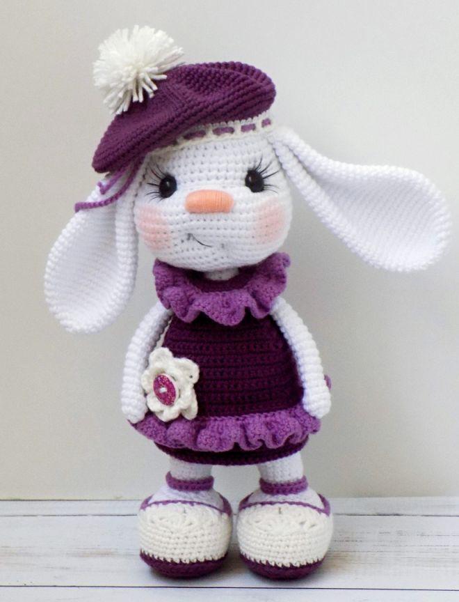 Pretty Bunny amigurumi in pink dress Bunny doll crochet pat. - Pretty Bunny amigurumi in pink dress Bunny doll crochet pattern -