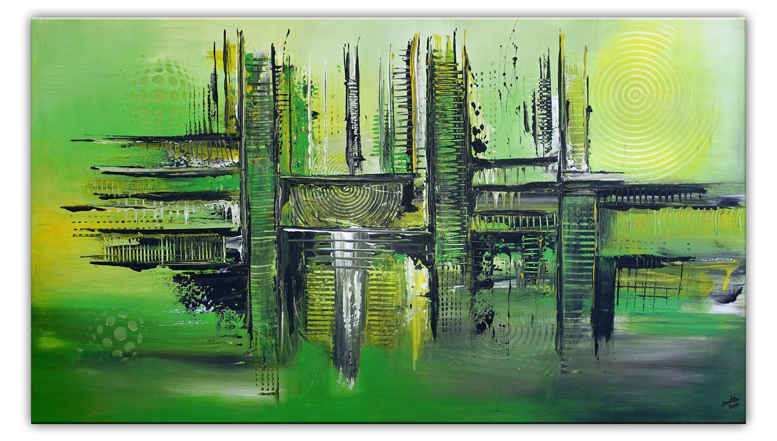 abstraktes kunst bild leinwandbild wandbild grun abstrakte malerei bilder modern abstrakt geometrische abstraktion künstler