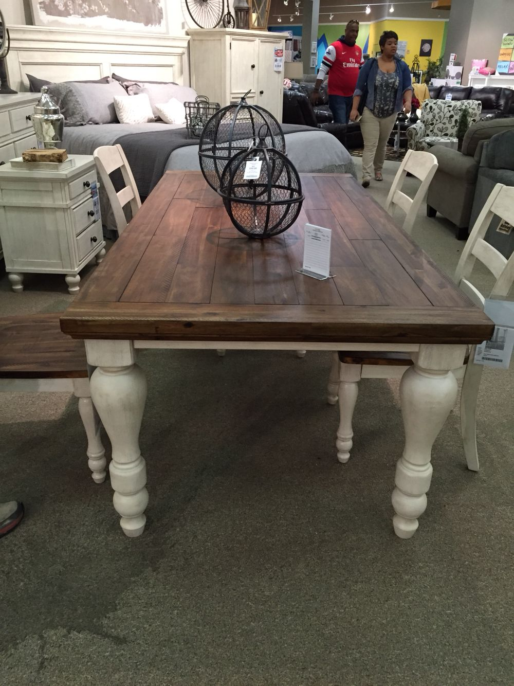 Farmhouse table twotoned Dining room furniture, Dinning