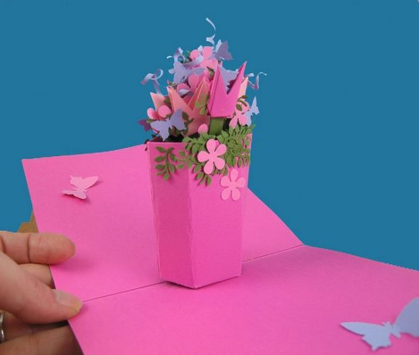 How To Make A Flower Basket Pop Up Card : Pop up cards mechanisms templates for free diy