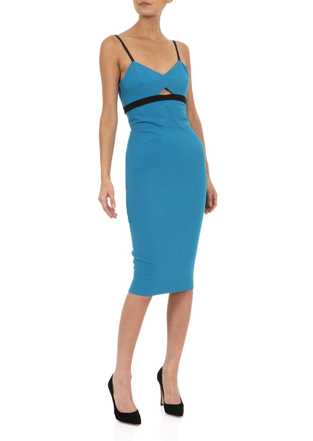 Victoria Beckham Dresses Victoria Beckham Blue Wool And Silk Crepe Sheath Dress Montaigne Market [ 1444 x 1024 Pixel ]