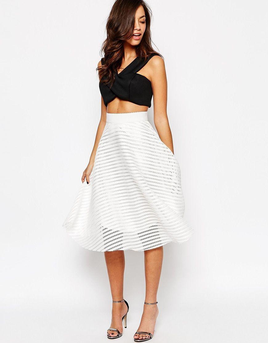Image 1 of New Look Stripe Mesh Midi Skirt | #1- Actual Dresses I ...