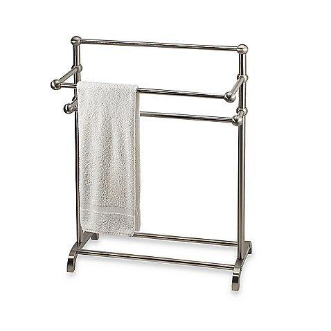 3 Tier Floor Towel Stand In Satin Nickel Bed Bath And Beyond 149 Free Standing Towel Rack Towel Bathroom Shower Organization
