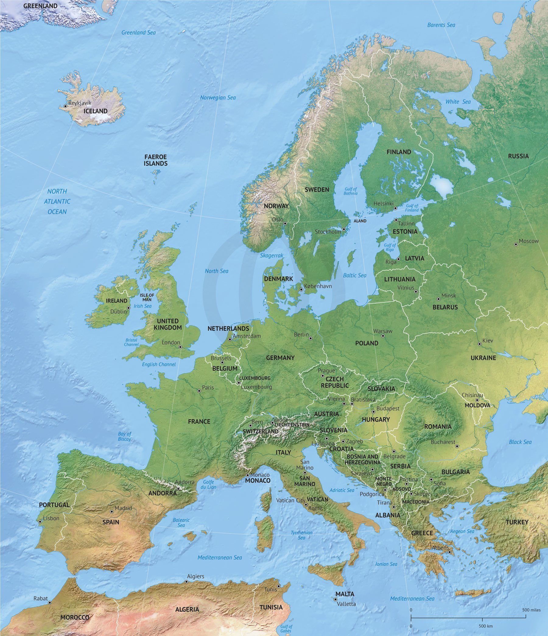 Vector Map Europe shaded relief  Printable maps