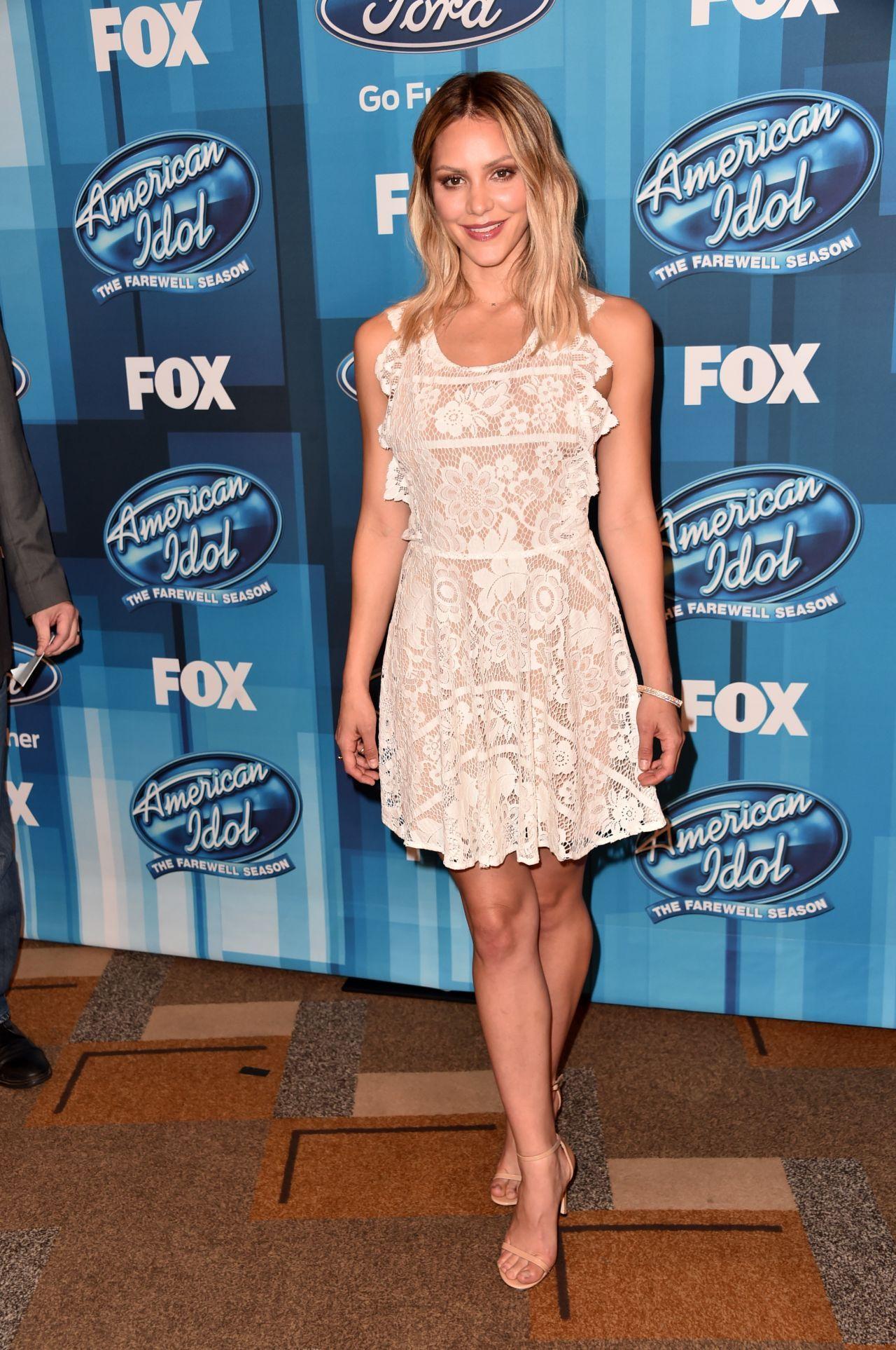 Katharine Mcphee American Idol Finale For The Farewell Season In Hollywood April 2016 Katharine Mcphee Katharine Mcphee American Idol Lace White Dress