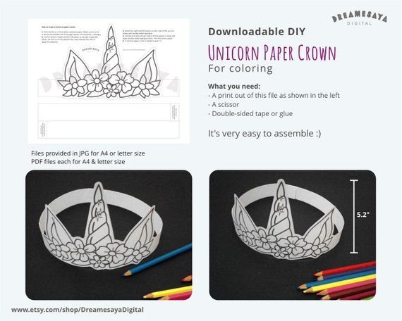 Printable Unicorn Horn And Ears Paper Hat Unicorn Coloring Page