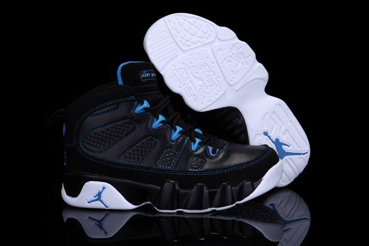 Kids Nike Air Jordan 9 IX Shoes in Black and Blue .