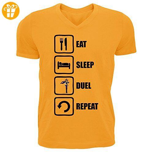 Yugioh Inspired Eat Sleep Duel Repeat Funny Graphic Men's V-Neck T-shirt XX-Large (*Partner-Link)
