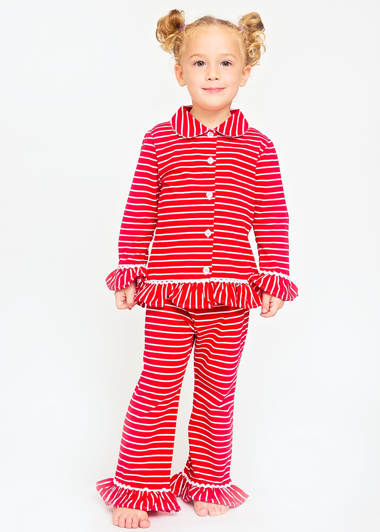 2fbd6dad60f9 130-H18 Red and White Stripes Button Up Knit Girl s Loungewear ...