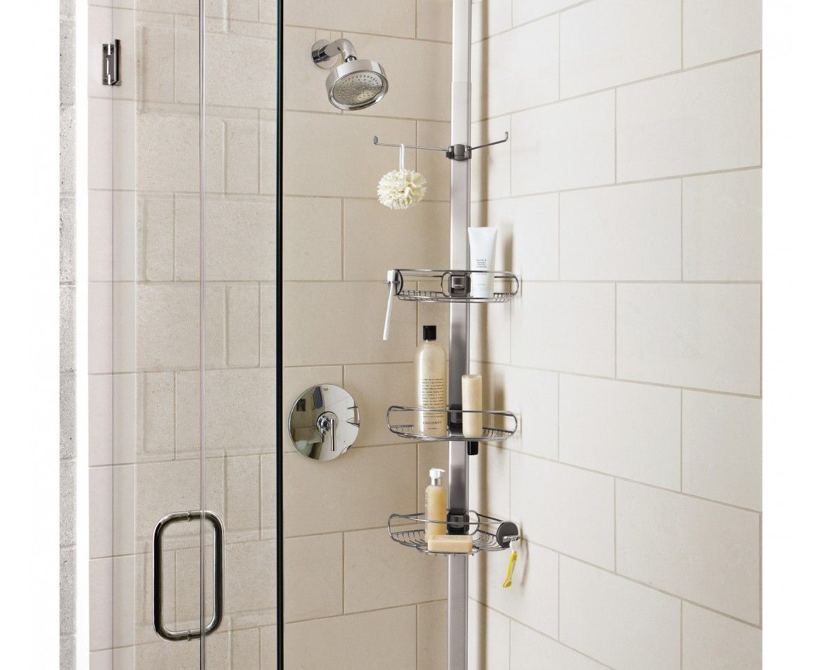 Adjustable Tension Shower Caddy Stainless Steel And Anodized ...