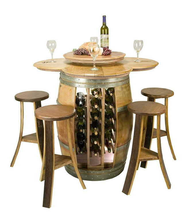 wine barrel wine rack furniture. Reclaimed Barrel Table With 28 Bottle Rack And 4 Stave Stools - Wine Enthusiast Furniture