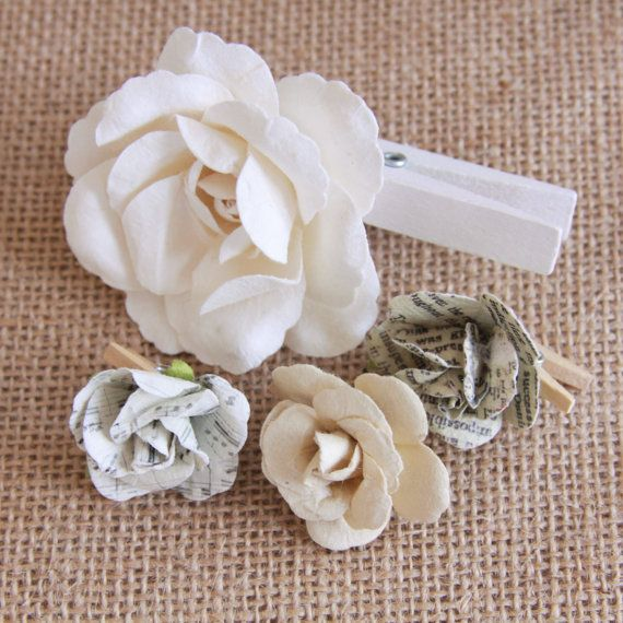 Handmade Flower Clothes Pins Mini Paper by Summertimedesign