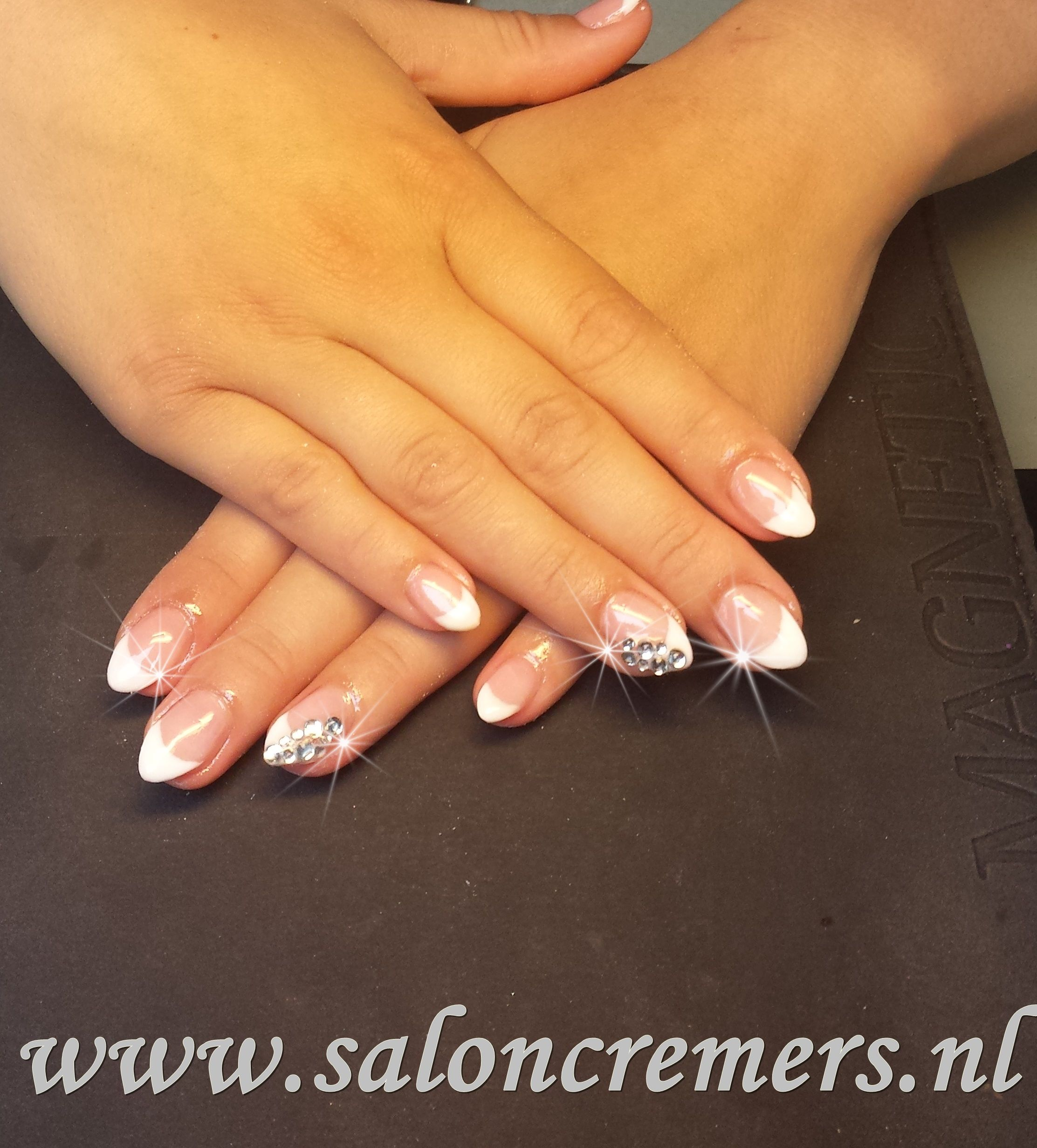 Modern French Manicure On Almond Shaped Nails Composition - Nail Art ...