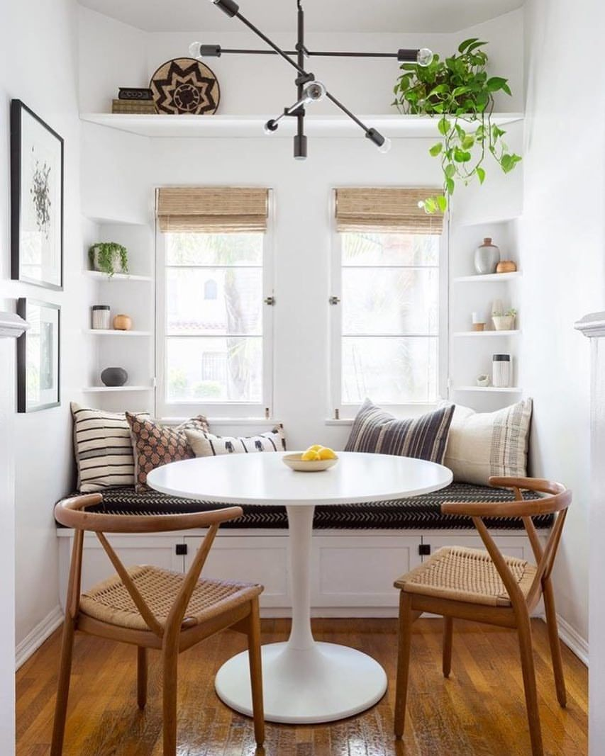 This dining nook by katiehodgesdesign is an