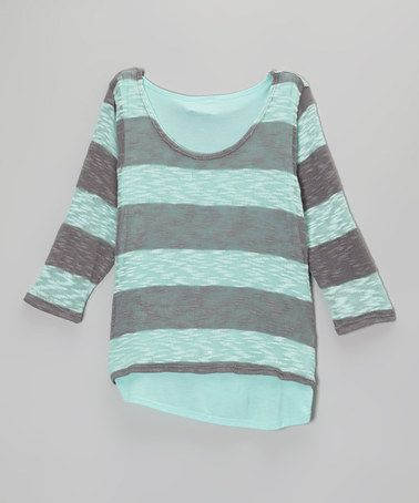 Another great find on #zulily! Mint & Gray Stripe Sweater - Girls by Pinc Premium #zulilyfinds