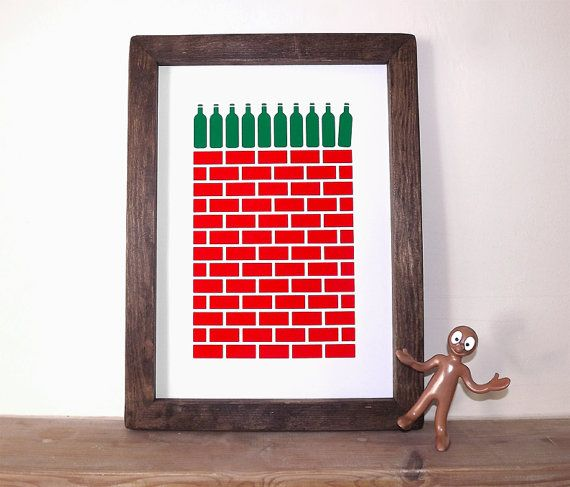 Ten Green Bottles A3 Screenprint In Green Red By Hellododoshop 25 00 Screen Printing Green Bottle Prints