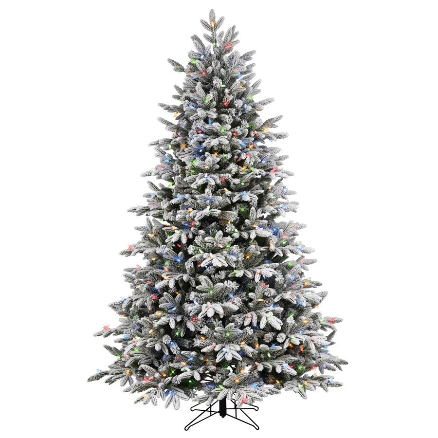 Ge 7 5 Ft Alaskan Pine Pre Lit Traditional Flocked Artificial Christmas Tree With 600 Multi Function Color Changing Warm White Led Lights Lowes Com Flocked Artificial Christmas Trees Spruce Christmas Tree Artificial Christmas Tree
