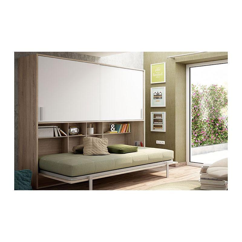 Compra esta cama abatible horizonal con estanterías y armario color ...