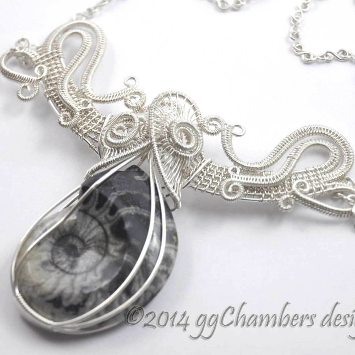 Sterling Silver Woven Wire Helix and Goniatite Fossil Necklace