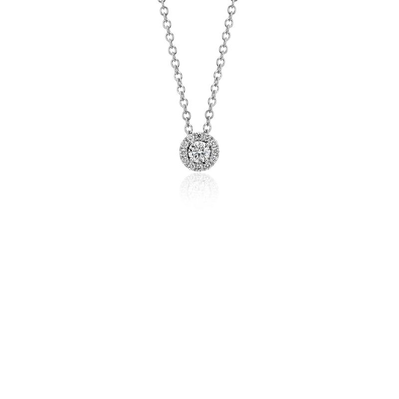 Mini Diamond Halo Pendant in 14k White Gold (1 10 ct. tw ... 0d089fc1c
