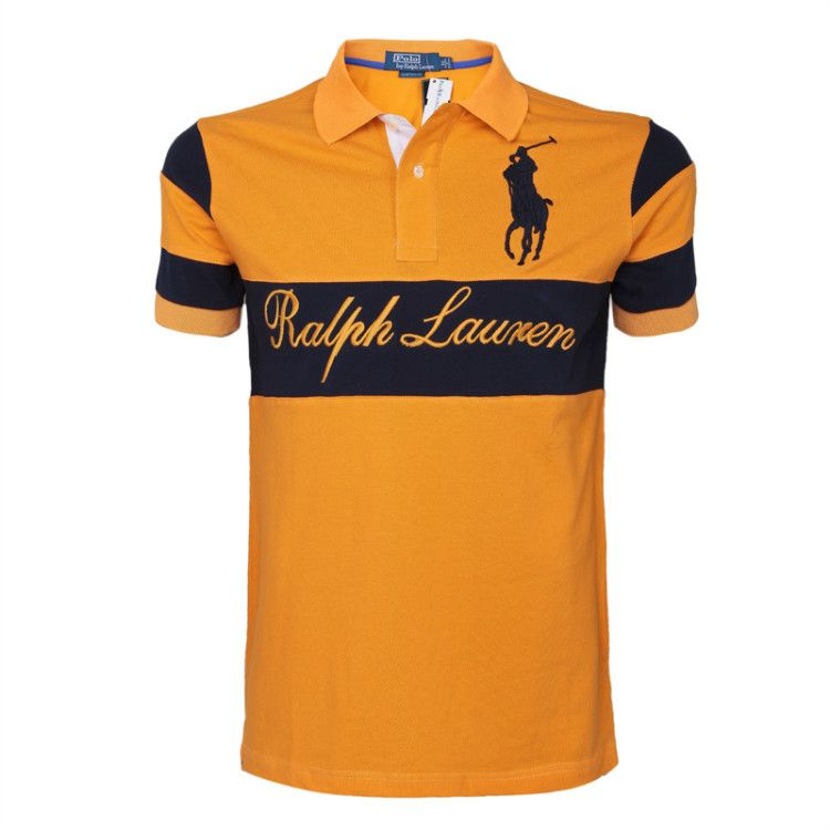 Polo Ralph Lauren Big Logo Short T Shirt Men Black Bar Orang Dre