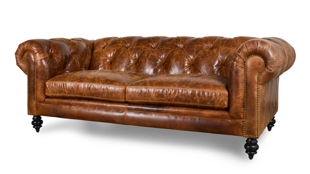 Soho Chesterfield Leather Loveseat - Made in USA | Leather ...