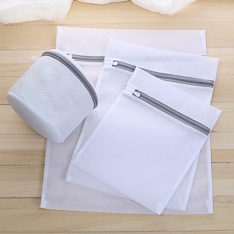Zippered Foldable Clothes Washing Machine Laundry Bags Bra Aid