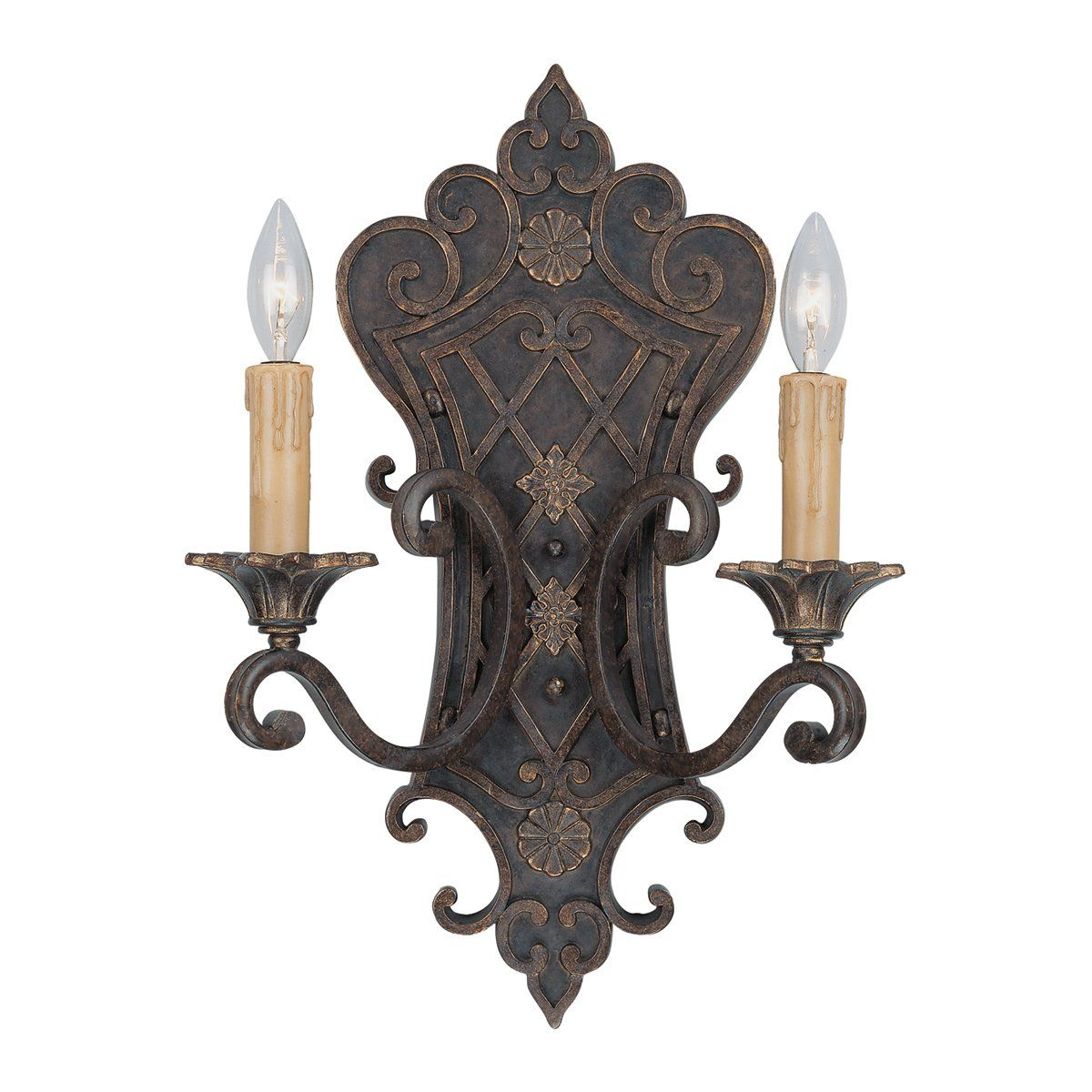 Savoy House 9-0159-2-76 2 Light Southerby Wall Sconce, Florencian Bronze (media room)