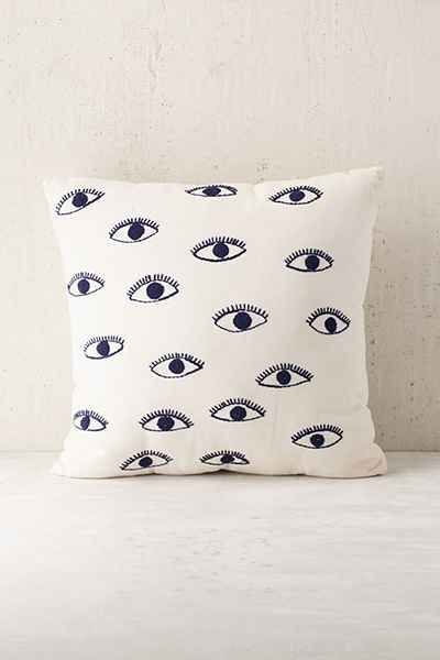 magical thinking embroidered eye pillow magical thinking pillows and urban outfitters. Black Bedroom Furniture Sets. Home Design Ideas