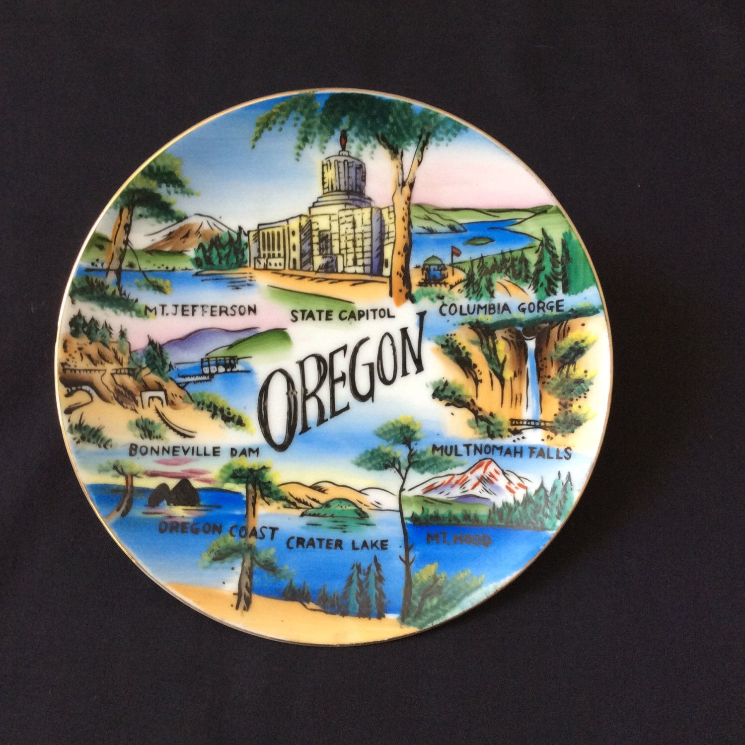A personal favorite from my Etsy shop https://www.etsy.com/listing/217949722/vintage-oregon-souvenir-collector-plate