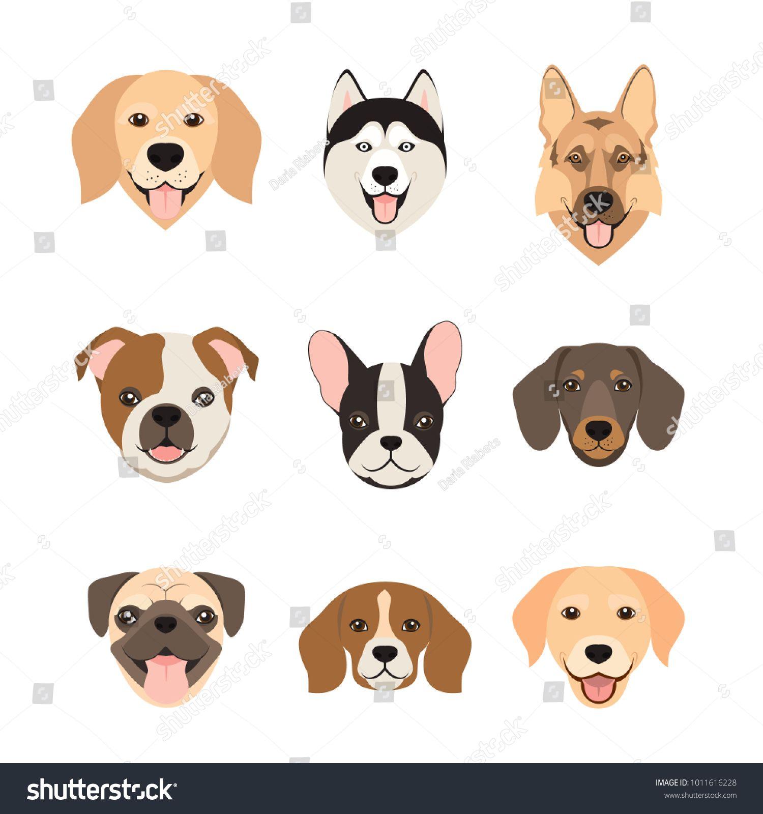 Flat Style Dog Head Icons Cartoon Dogs Faces Set Vector Illustration Isolated On Whitehead I Dog Icon Animal Illustration Photographer Business Card Template