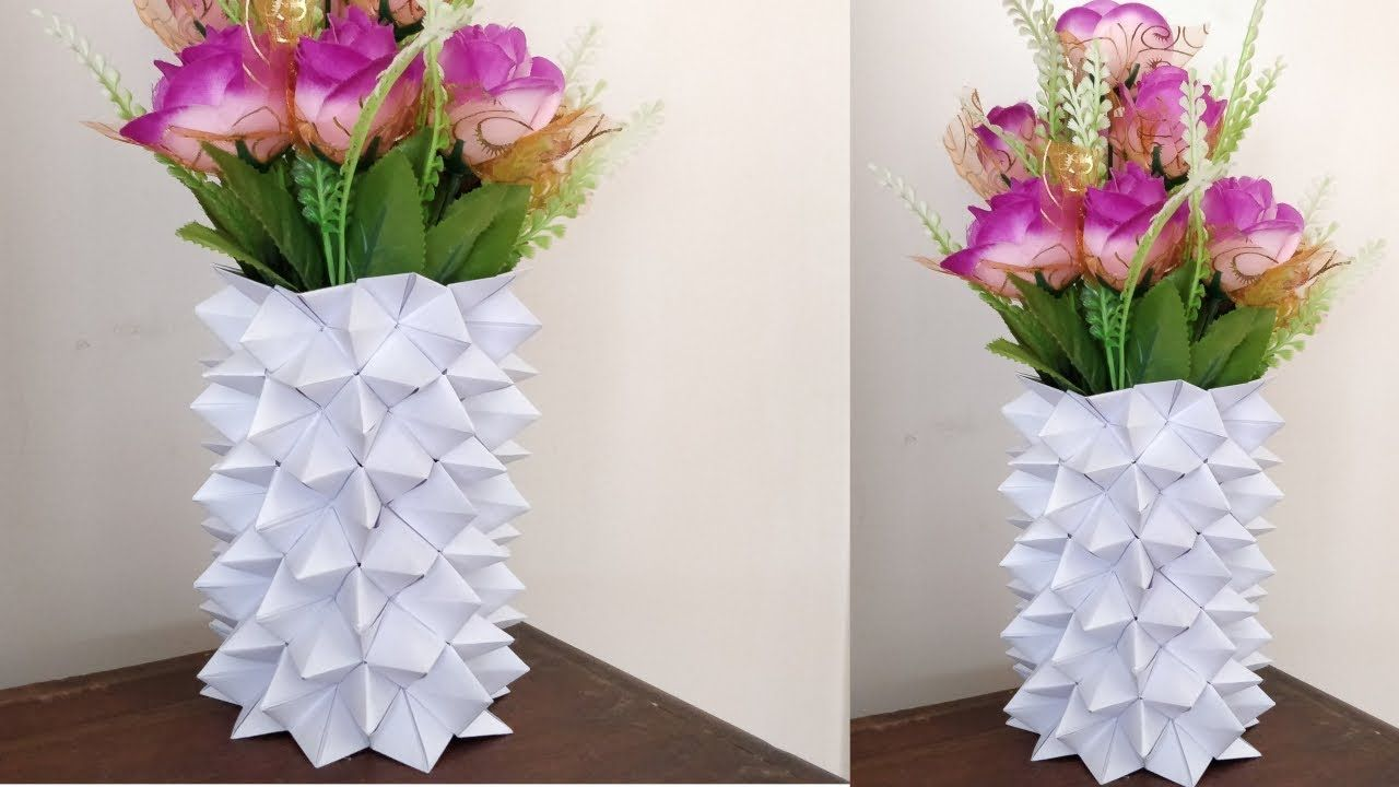How To Make A Paper Flower Vase Diy Simple Paper Craft Papel