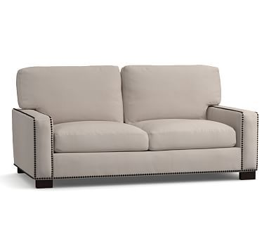 "Turner Square Arm Upholstered Loveseat 74"" with Bronze Nailheads, Down Blend Wrapped Cushions, Washed Linen/Cotton Silver Taupe"